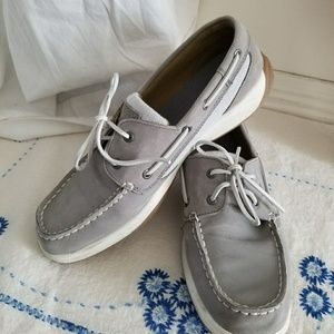 Sperry Top Sider leather & canvas boat shoe sz 10